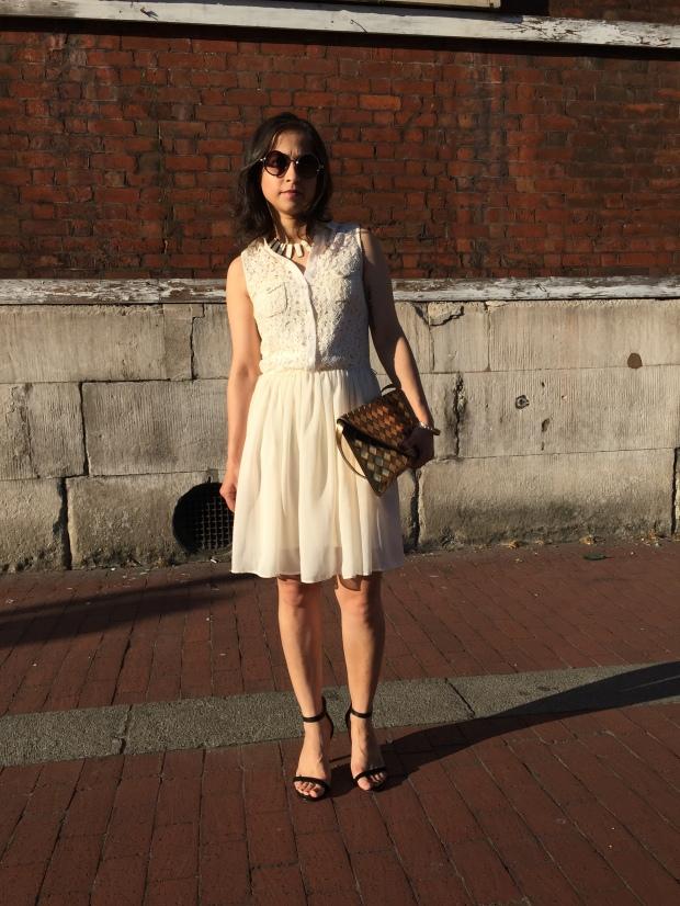White dress summer chiffon lace cream feminine dress