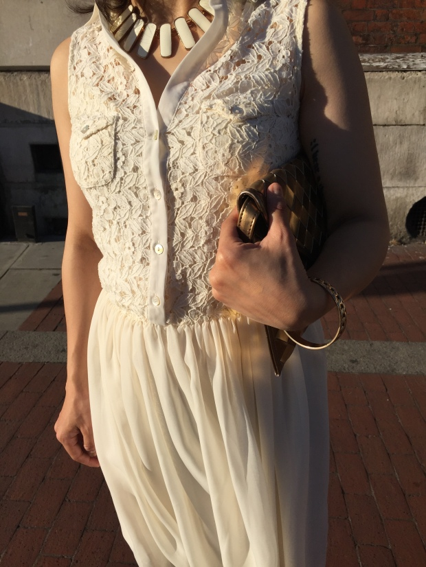 White dress summer chiffon lace cream feminine dress