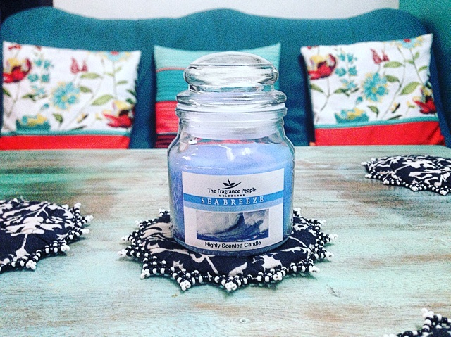 Teal house decor candles